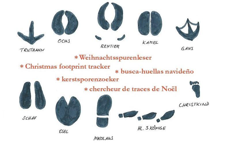 Weihnachtsspurenleser * Christmas footprint tracker * busca-huellas navideño